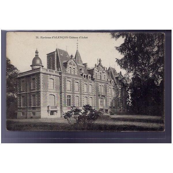 carte postale 61 environs d 39 alencon chateau d 39 achet voyage dos divise. Black Bedroom Furniture Sets. Home Design Ideas