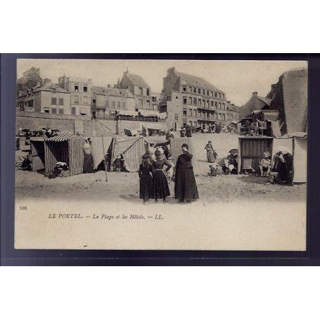Carte postale 62 - Le Portel - la plage et les Hotels - Non voyage - Dos divise