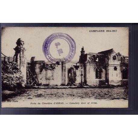 Carte postale 62 - Arras - Porte du cimetiere - Cemetery door of Arras - Non voyage - Dos d