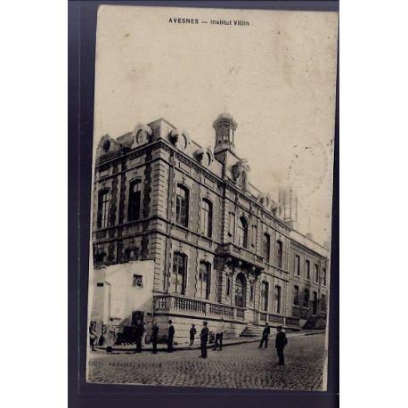 Carte postale 62 - Avesnes - Institut Villin - Voyage - Dos divise