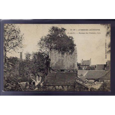 Carte postale 62 - Avesnes-le-Comte - Ruines du chateau fort - Voyage - Dos divise