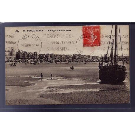 Carte postale 62 - Berck-Plage - La plage a maree basse - Voyage - Dos divise