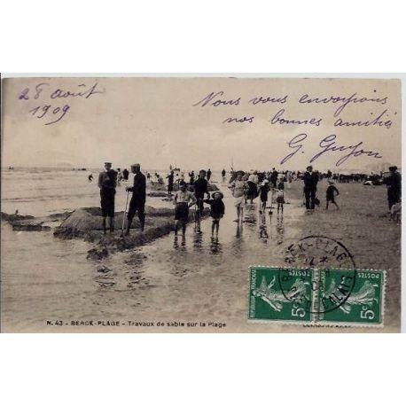 Carte postale 62 - Berck-plage - Travaux de sable sur la plage - Voyage - Dos divise