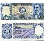 Banknote Bolivia Pick number 166 - 500 Peso 1981