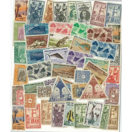 French Somaliland - 25 different stamps