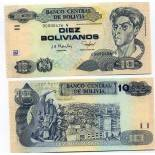 Collection of Banknote Bolivia Pick number 223 - 10 Boliviano 1986