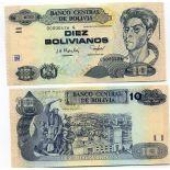 Sammlung von Banknoten Bolivien Pick Nummer 223 - 10 Boliviano 1986