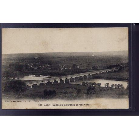 Carte postale 64 - Agen - Vallee de la Garonne et Pont-Canal - Non voyage - Dos divise