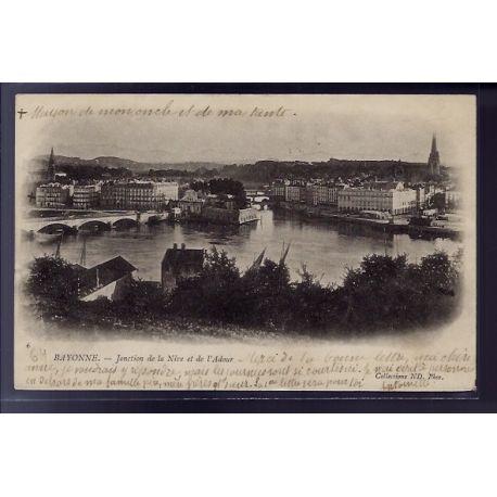 Carte postale 64 - Bayonne - Jonction de la Nive et de l' Adour - Voyage - Dos non divise