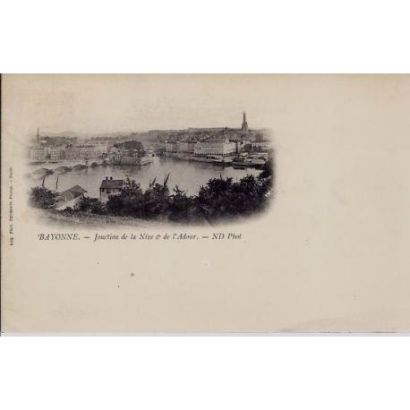 Carte postale 64 - Bayonne - La Nive et l'Adour - Dos non diuvis
