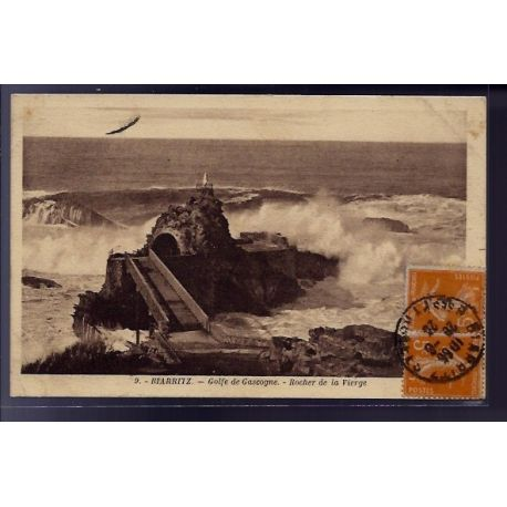 Carte postale 64 - Biarritz - Golfe de Gascogne - rocher de la Vierge - Voyage - Dos divise