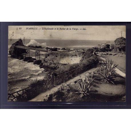 Carte postale 64 - Biarritz - l' Esplanade et le rocher de la Vierge - Voyage - Dos divise