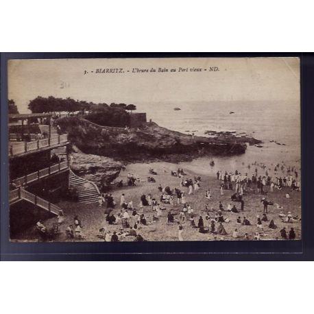 Carte postale 64 - Biarritz - L' heure du bain au Port vieux - Voyage - Dos divise