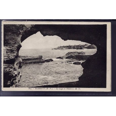 Carte postale 64 - Biarritz - La loge de Theatre - Non voyage - Dos divise