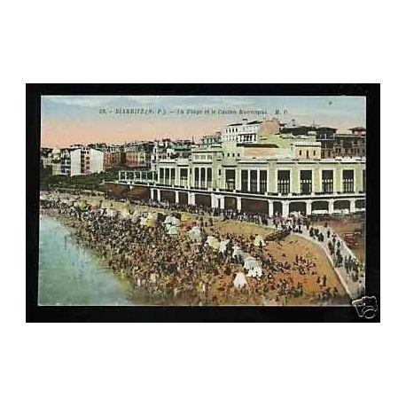 Carte postale 64 - Biarritz - La plage et le casino municipal