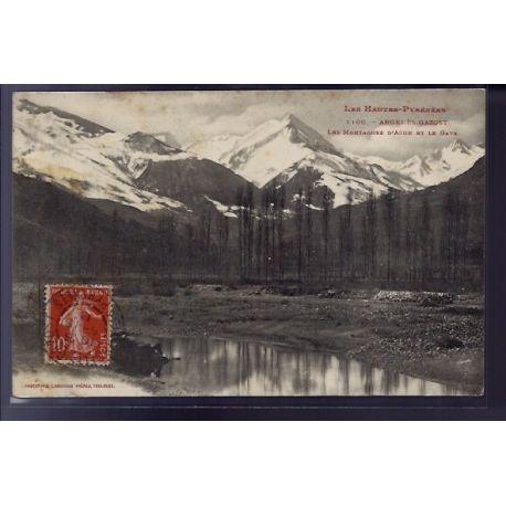 Carte postale 65 - Argeles-Gazost - Les montagnes d' Azun et le Gave - Voyage - Dos divise