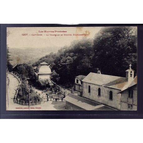 Carte postale 65 - Capvern - La chapelle et nouvel etablissement - Voyage - Dos divise