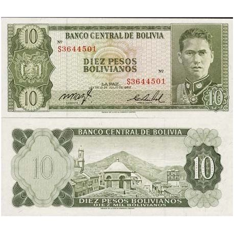 Billet de collection Bolivie Pk N° 154 - 10 Pesos