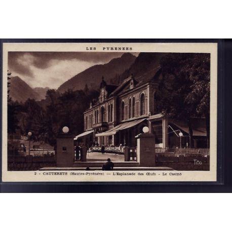 Carte postale 65 - Cauterets - l' Esplanade des oeufs - le casino - Voyage - Dos divise