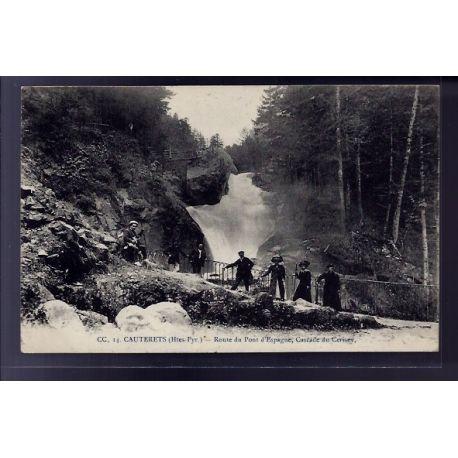 Carte postale 65 - Cauterets - Route du pont d' Espagne - cascade du Cerisey - Voyage - Dos