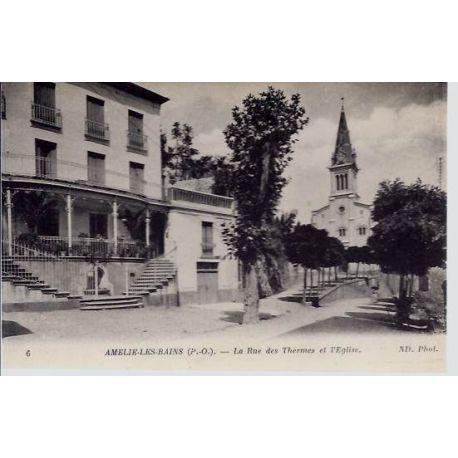 66 - Amelie les Bains - Rue des thermes et eglise
