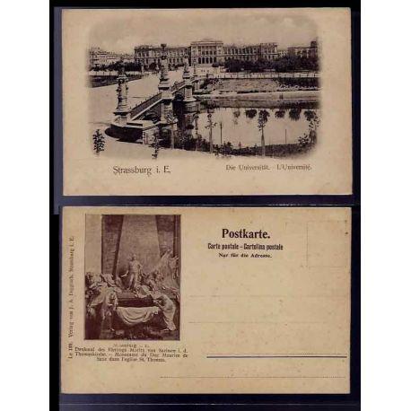 Carte postale 67 - Strasbourg - l' Universite - au verso Monument du Duc Maurice de Saxe da