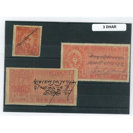 Dhar - 3 verschiedene Briefmarken