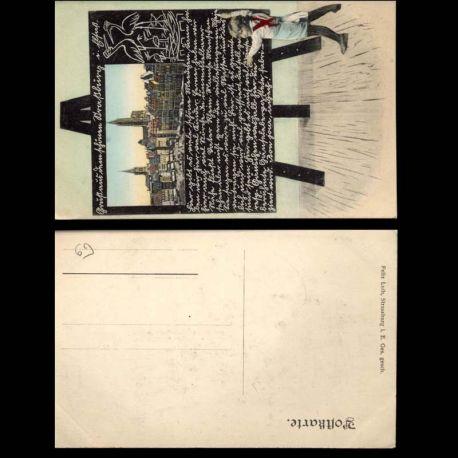 Carte postale 67 - Vue de Strasbourg dans un tableau d'ecole