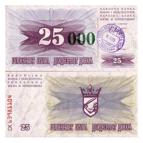 Billets de collection Billet de collection Bosnie Pk N° 54 - 25000 Dinara Billets de Bosnie 5,00 €