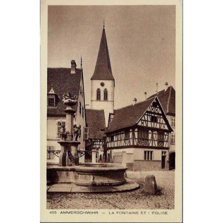 68 - Ammerschwihr - La fontaine et l'eglise - Non voyage - Dos divise