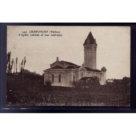 Carte postale 69 - Chaponost - l' eglise - abside et vue laterale - Voyage - Dos divise