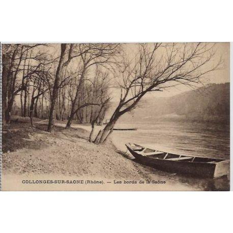 Carte postale 69 - Collonges-sur-Saone - Les bords de la Saone - Non voyage - Dos divise