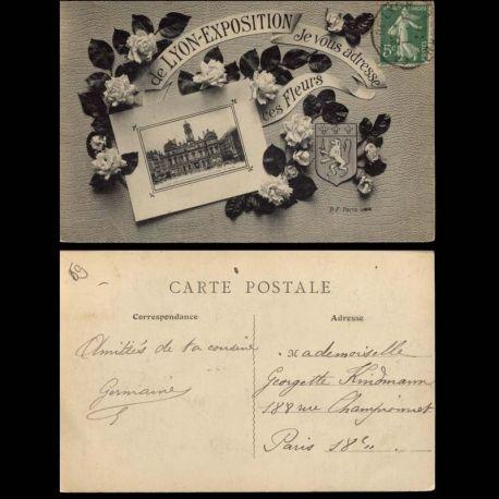 Carte postale 69 - de Lyon Exposition je vous adresse ces fleurs...