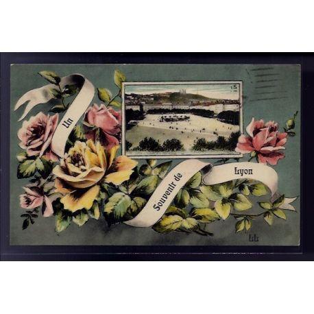 "Carte postale 69 - Lyon - carte un souvenir de Lyon"" - Voyage - Dos divise"""""""