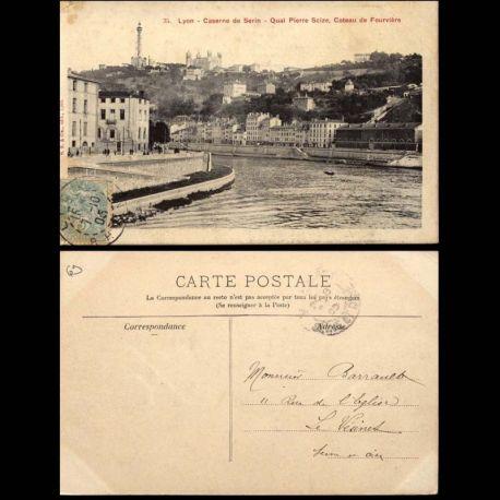 Carte postale 69 - Lyon - Caserne de Serin - Quai P. Scize - Coteau de Fourviere