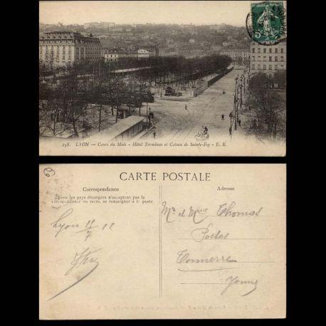 Carte postale 69 - Lyon - Cours du midi - Hotel Terminus et coteau de Ste Foy