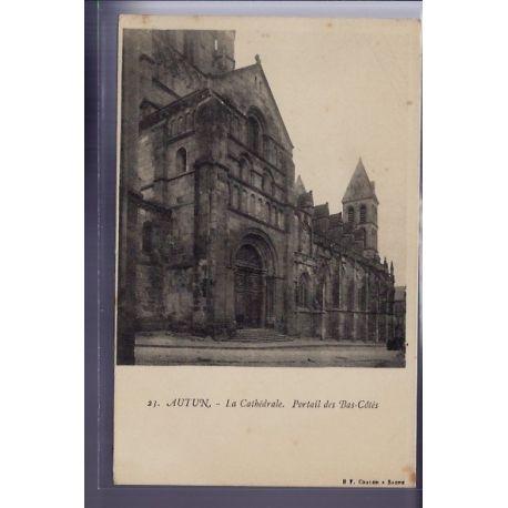 Carte postale 71 - Autun - La Cathedrale - portail des Bas-Cotes - Non voyage - Dos non div
