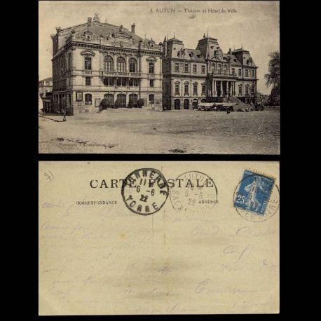 Carte postale 71 - autun - L'Hotel de ville et le theatre
