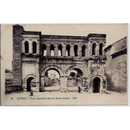 Carte postale 71 - Autun - Porte Romaine dite de Saint-Andre - Voyage - Dos divise