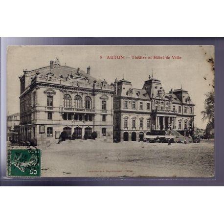 Carte postale 71 - Autun - Theatre et Hotel de Ville - Voyage - Dos divise