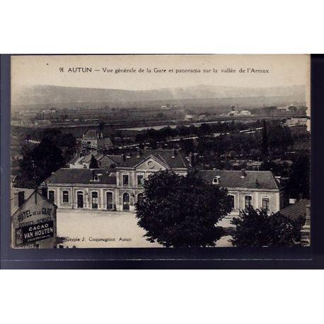 Carte postale 71 - Autun - vue generale de la gare et panorama sur la vallee de l' Arroux -