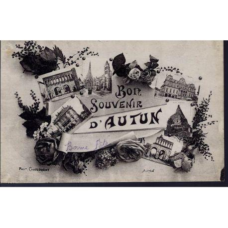 Carte postale 71 - Bon souvenir d'Autun - Multiviue - Roses