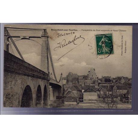 72 - Beaumont-sur-Sarthe - Perspective du Pont suspendu et vieux chateau - Vo