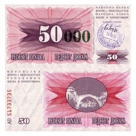 Billet de banque Bosnie Pk N° 55 - 50000 Dinara