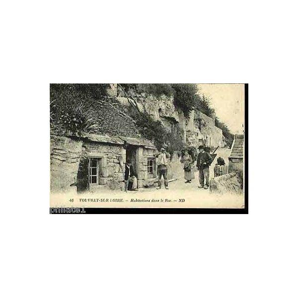 Carte postale 72 vouvray sur loire habitations dans le roc for Porte carte postale sur pied