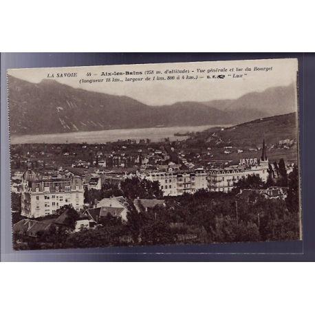 Carte postale 73 - Aix-les-Bains - Vue generale et lac du Bourget - Non voyage - Dos divise