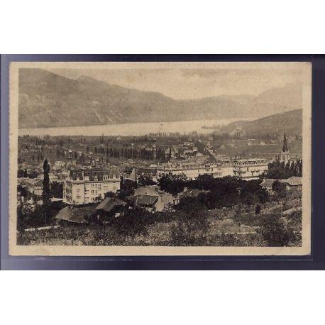 Carte postale 73 - Aix-les-Bains - Vue generale et le lac du Bourget - Voyage - Dos divise