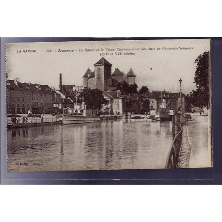 Carte postale 73 - Annecy - Le Canal et le vieux chateau-Fort des ducs de Genevois-Nemours