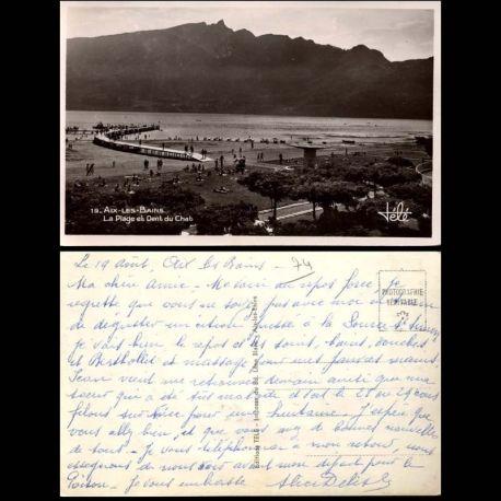 Carte postale 74 - Aix les Bains - La plage et la dent du Chat