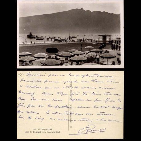 Carte postale 74 - Aix les Bains - Lac du Bourget et la Dent du Chat